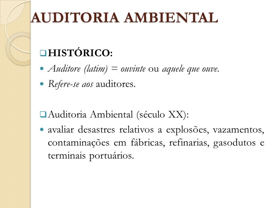 AUDITORIA AMBIENTAL HISTÓRICO: