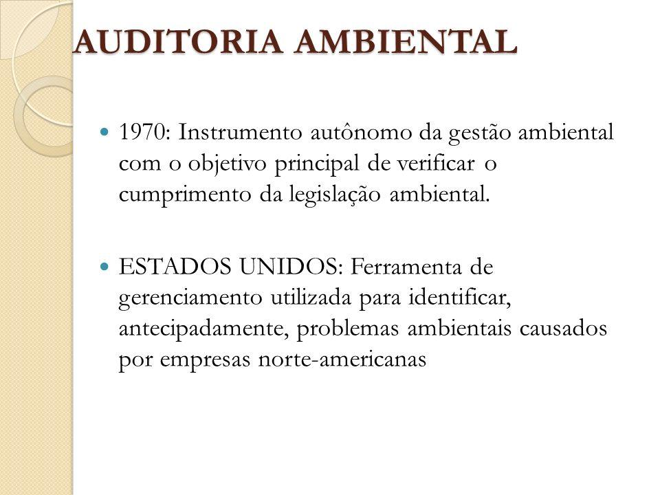 AUDITORIA AMBIENTAL 1970: Instrumento autônomo da gestão ambiental com o objetivo principal de verificar o cumprimento da legislação ambiental.