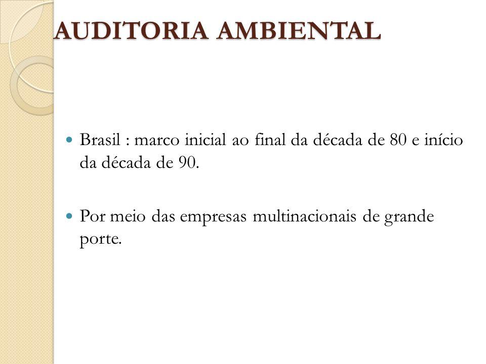 AUDITORIA AMBIENTAL Brasil : marco inicial ao final da década de 80 e início da década de 90.