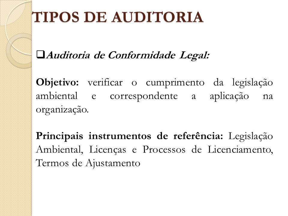 TIPOS DE AUDITORIA Auditoria de Conformidade Legal: