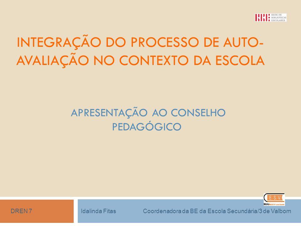 INTEGRAÇÃO DO PROCESSO DE AUTO-AVALIAÇÃO NO CONTEXTO DA ESCOLA