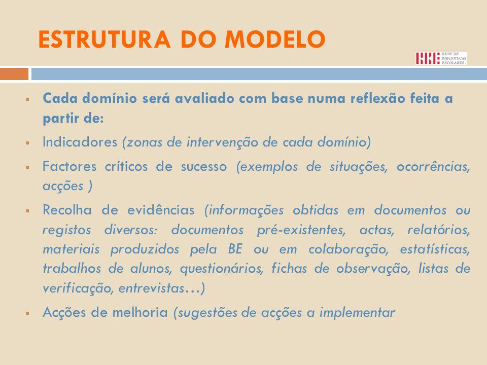 ESTRUTURA DO MODELO Cada domínio será avaliado com base numa reflexão feita a partir de: Indicadores (zonas de intervenção de cada domínio)