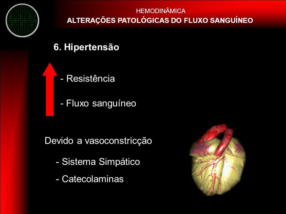 Devido a vasoconstricção