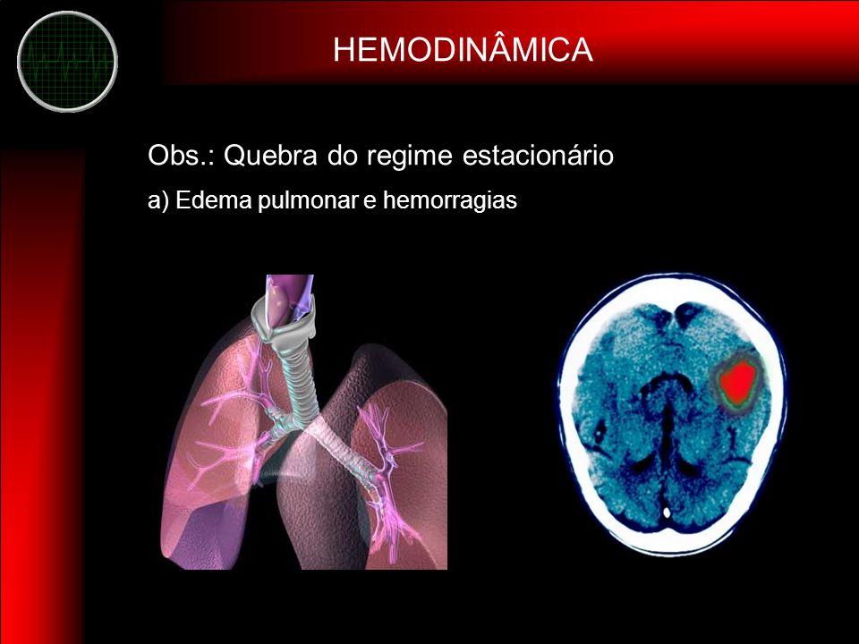 HEMODINÂMICA Obs.: Quebra do regime estacionário