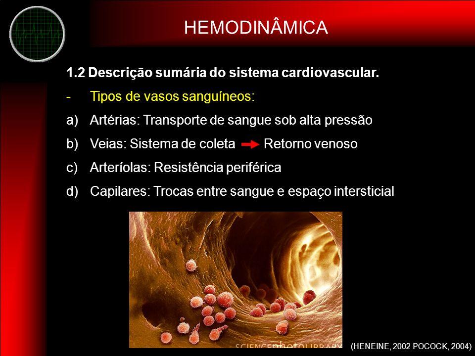 HEMODINÂMICA 1.2 Descrição sumária do sistema cardiovascular.