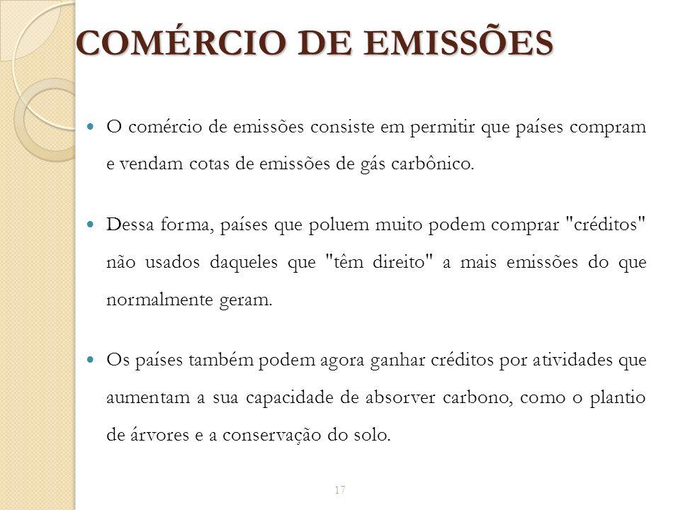 COMÉRCIO DE EMISSÕES O comércio de emissões consiste em permitir que países compram e vendam cotas de emissões de gás carbônico.