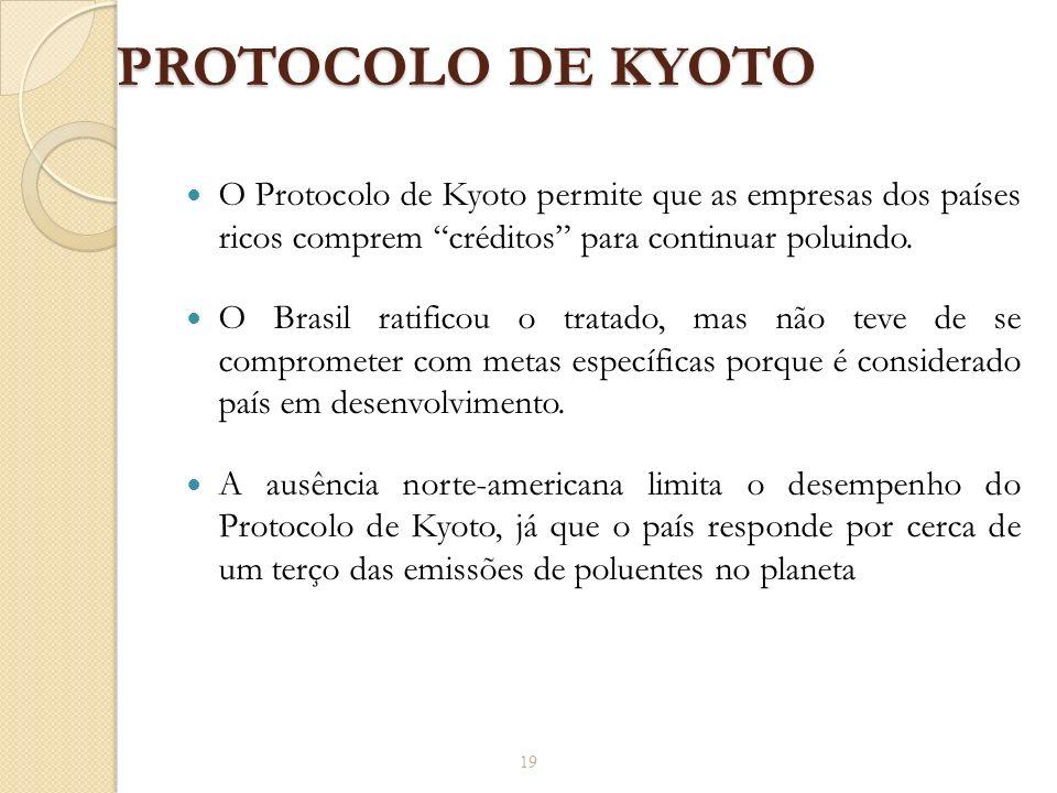 PROTOCOLO DE KYOTO O Protocolo de Kyoto permite que as empresas dos países ricos comprem créditos para continuar poluindo.
