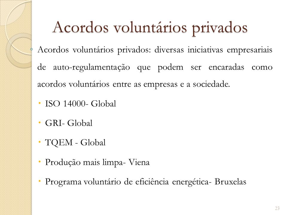 Acordos voluntários privados