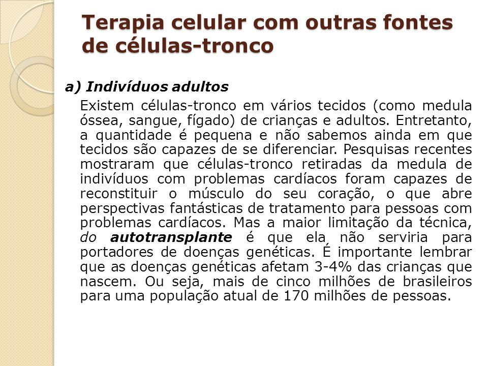 Terapia celular com outras fontes de células-tronco