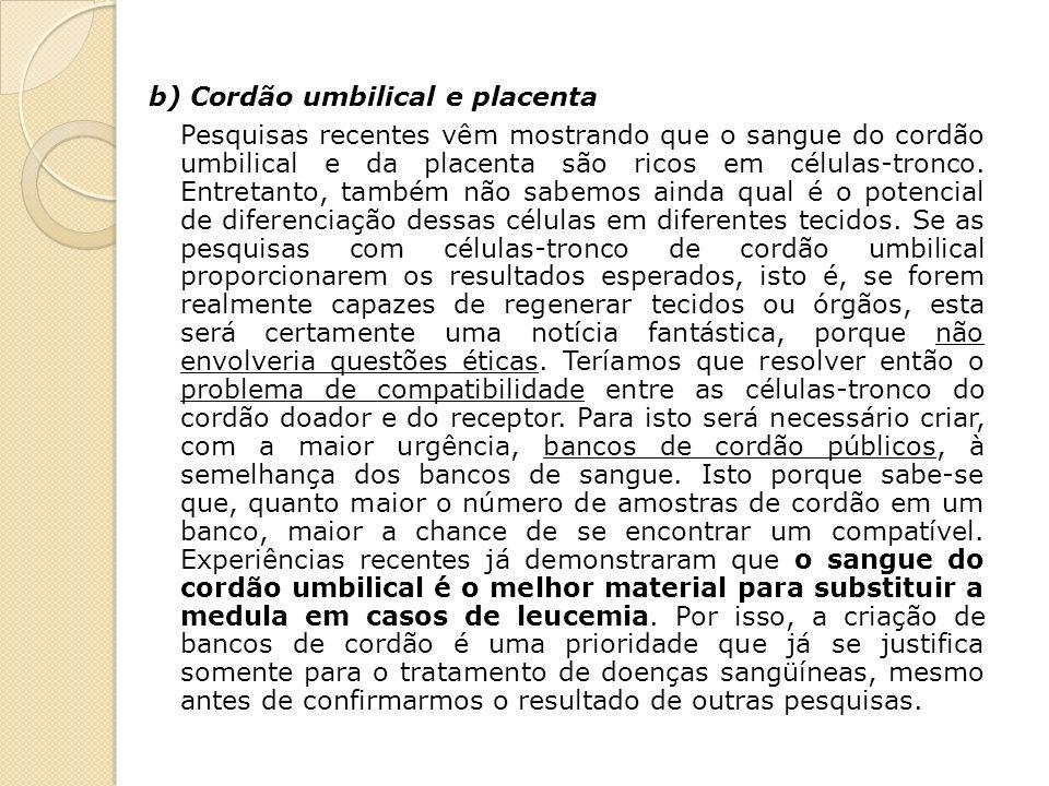 b) Cordão umbilical e placenta