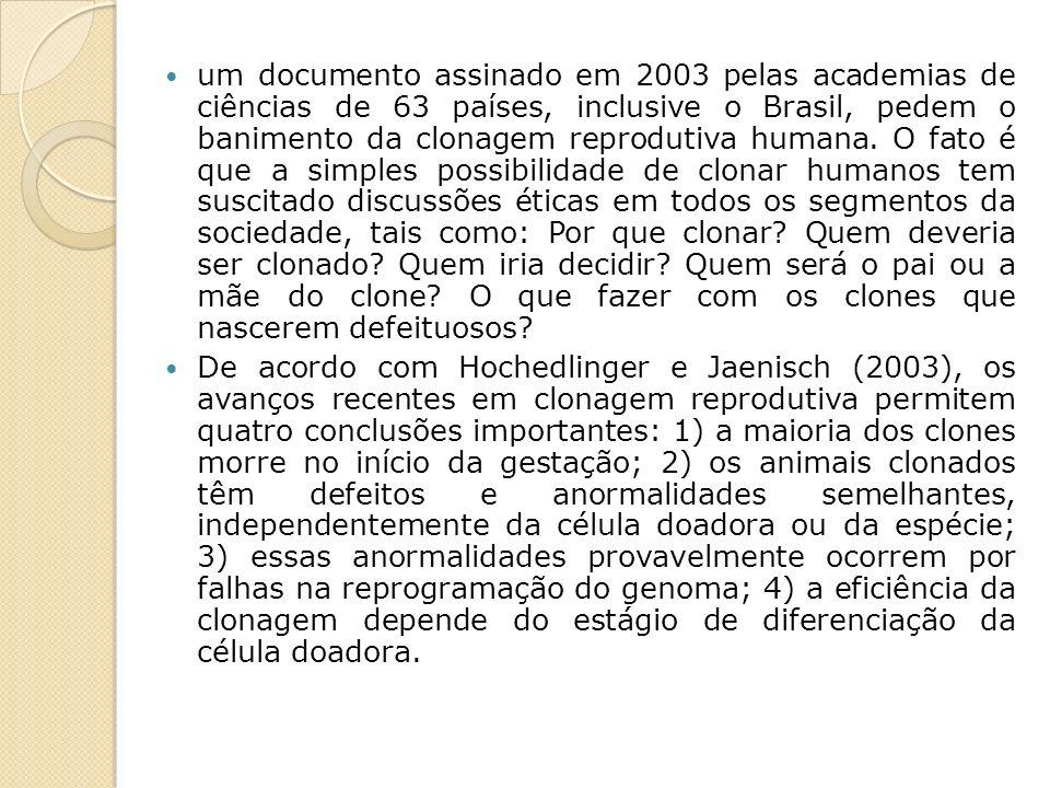 um documento assinado em 2003 pelas academias de ciências de 63 países, inclusive o Brasil, pedem o banimento da clonagem reprodutiva humana. O fato é que a simples possibilidade de clonar humanos tem suscitado discussões éticas em todos os segmentos da sociedade, tais como: Por que clonar Quem deveria ser clonado Quem iria decidir Quem será o pai ou a mãe do clone O que fazer com os clones que nascerem defeituosos