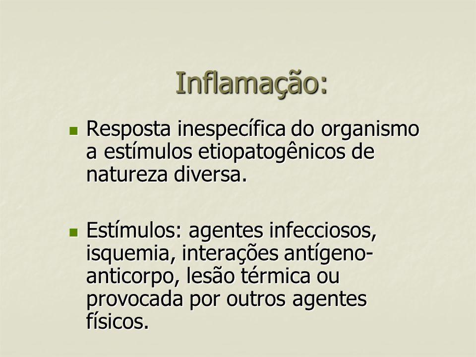 Inflamação: Resposta inespecífica do organismo a estímulos etiopatogênicos de natureza diversa.