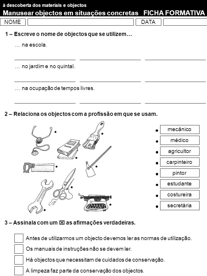 Manusear objectos em situações concretas FICHA FORMATIVA