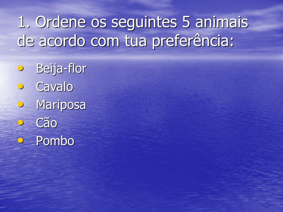 1. Ordene os seguintes 5 animais de acordo com tua preferência: