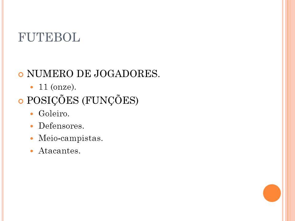 FUTEBOL NUMERO DE JOGADORES. POSIÇÕES (FUNÇÕES) 11 (onze). Goleiro.