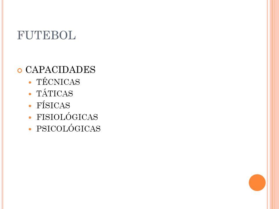 FUTEBOL CAPACIDADES TÉCNICAS TÁTICAS FÍSICAS FISIOLÓGICAS PSICOLÓGICAS