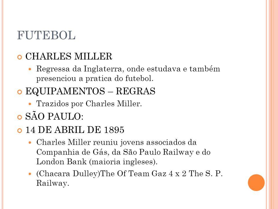 FUTEBOL CHARLES MILLER EQUIPAMENTOS – REGRAS SÃO PAULO: