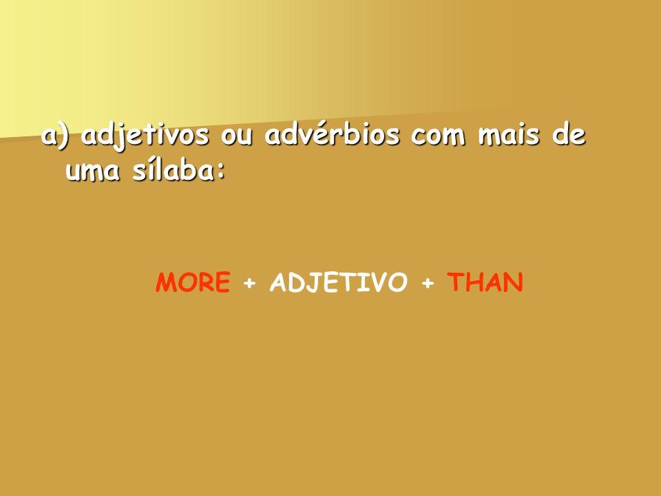 a) adjetivos ou advérbios com mais de uma sílaba: