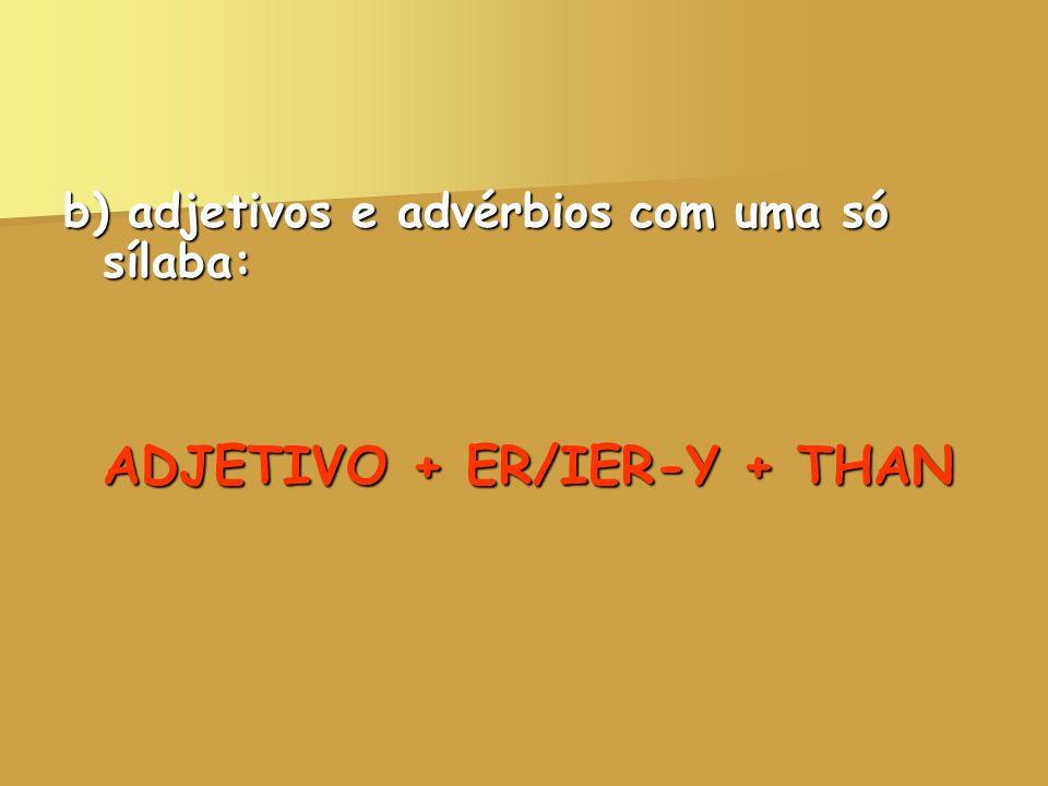 b) adjetivos e advérbios com uma só sílaba: ADJETIVO + ER/IER-Y + THAN