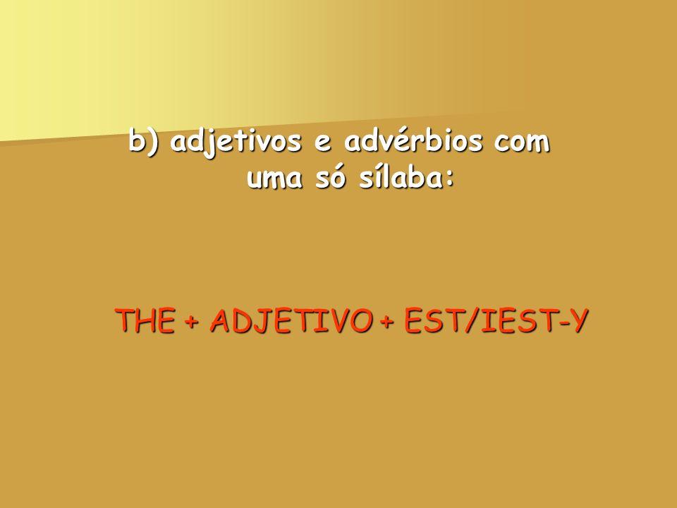 b) adjetivos e advérbios com uma só sílaba: THE + ADJETIVO + EST/IEST-Y