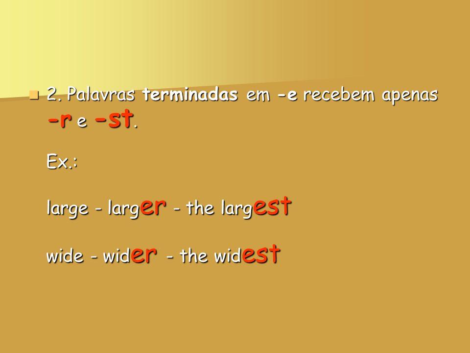 2. Palavras terminadas em -e recebem apenas -r e -st. Ex