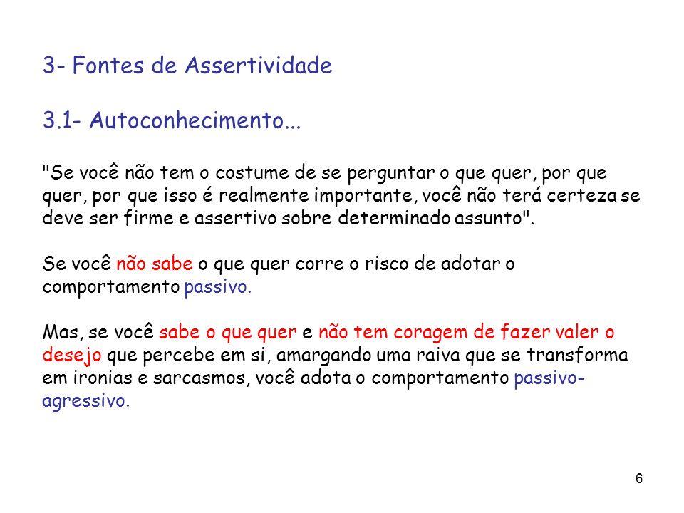 3- Fontes de Assertividade 3.1- Autoconhecimento...