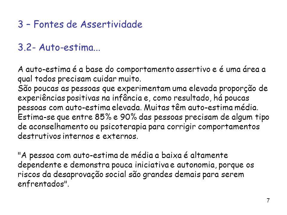 3 – Fontes de Assertividade 3.2- Auto-estima...