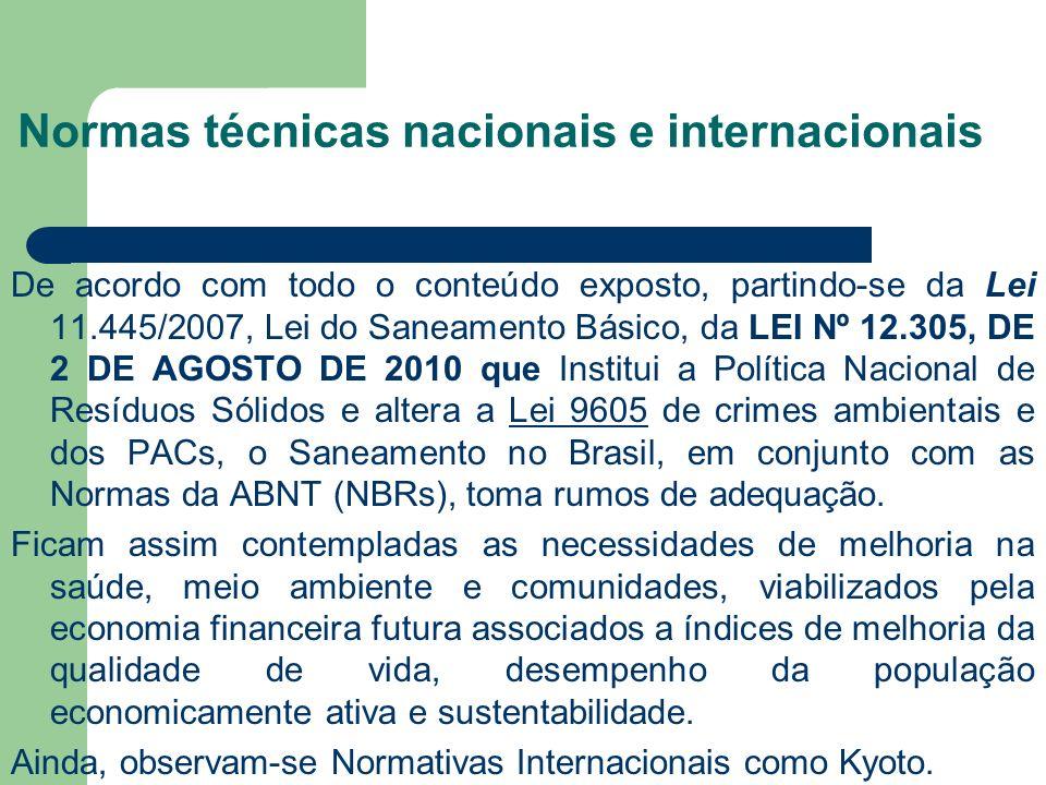 Normas técnicas nacionais e internacionais