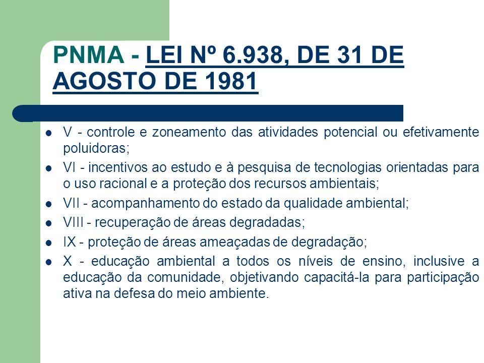 PNMA - LEI Nº 6.938, DE 31 DE AGOSTO DE 1981