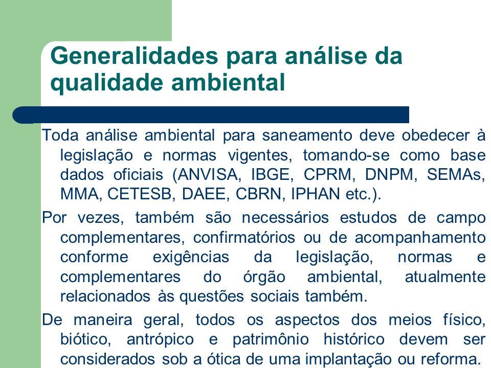 Generalidades para análise da qualidade ambiental