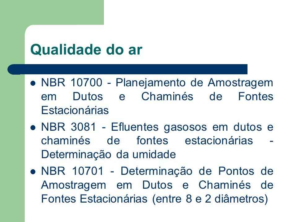 Qualidade do ar NBR 10700 - Planejamento de Amostragem em Dutos e Chaminés de Fontes Estacionárias.