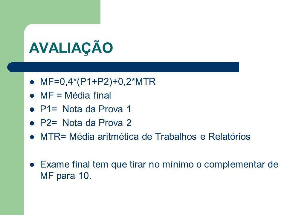 AVALIAÇÃO MF=0,4*(P1+P2)+0,2*MTR MF = Média final P1= Nota da Prova 1