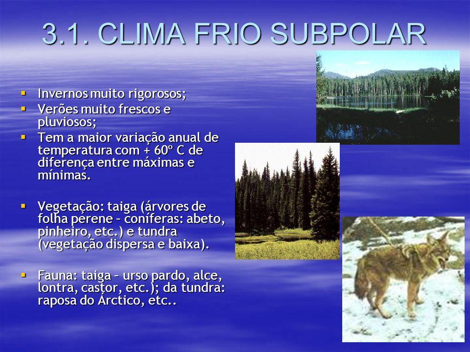 3.1. CLIMA FRIO SUBPOLAR Invernos muito rigorosos;