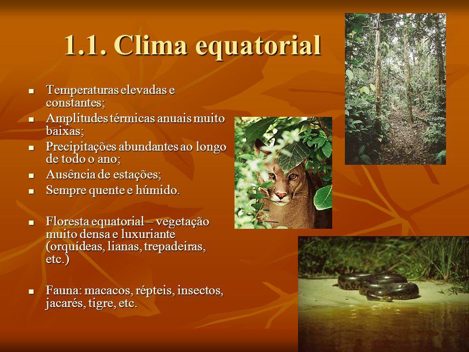 1.1. Clima equatorial Temperaturas elevadas e constantes;