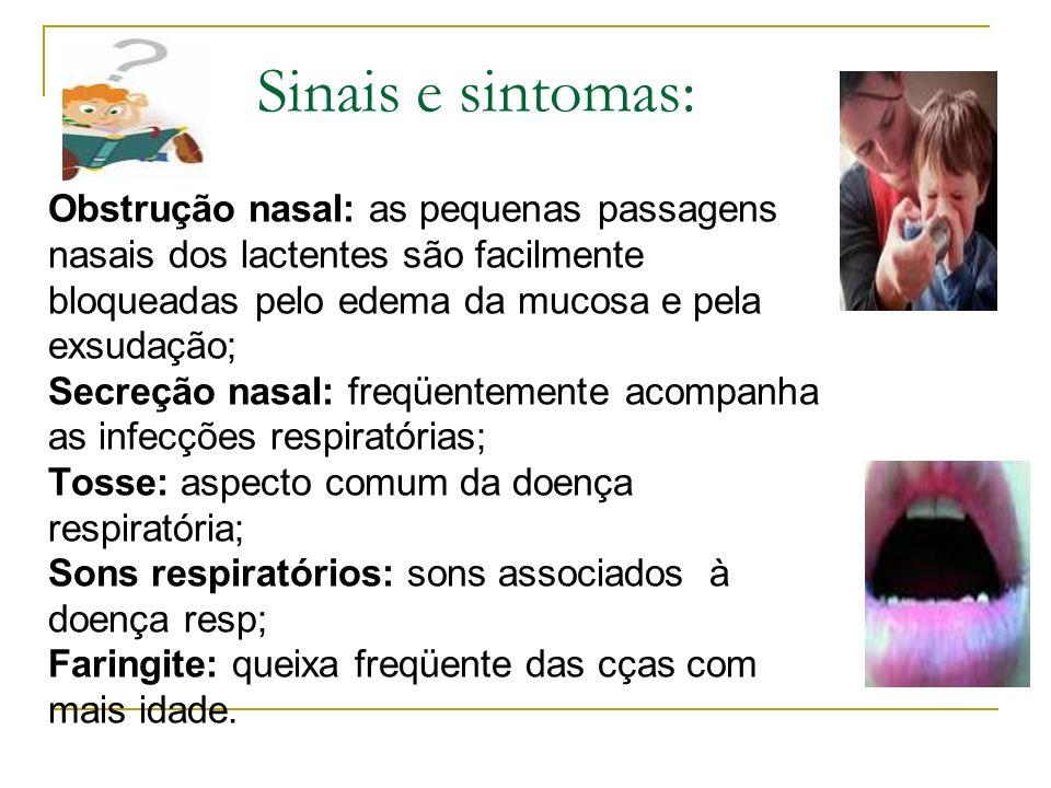 Sinais e sintomas: Obstrução nasal: as pequenas passagens nasais dos lactentes são facilmente bloqueadas pelo edema da mucosa e pela exsudação; Secreção nasal: freqüentemente acompanha as infecções respiratórias; Tosse: aspecto comum da doença respiratória; Sons respiratórios: sons associados à doença resp; Faringite: queixa freqüente das cças com mais idade.