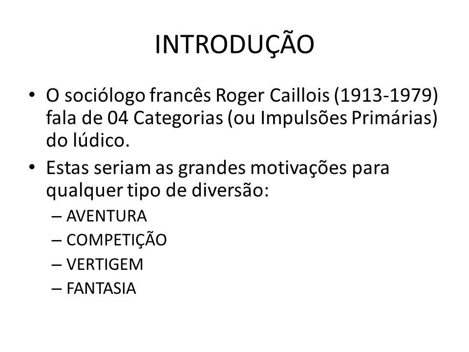 INTRODUÇÃO O sociólogo francês Roger Caillois (1913-1979) fala de 04 Categorias (ou Impulsões Primárias) do lúdico.