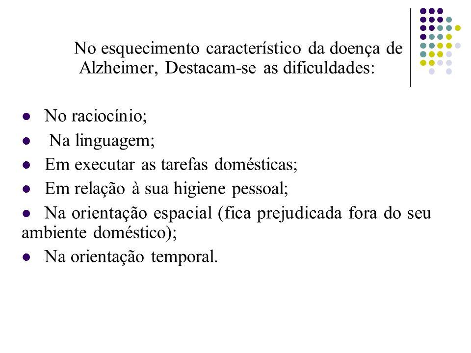 No esquecimento característico da doença de Alzheimer, Destacam-se as dificuldades: