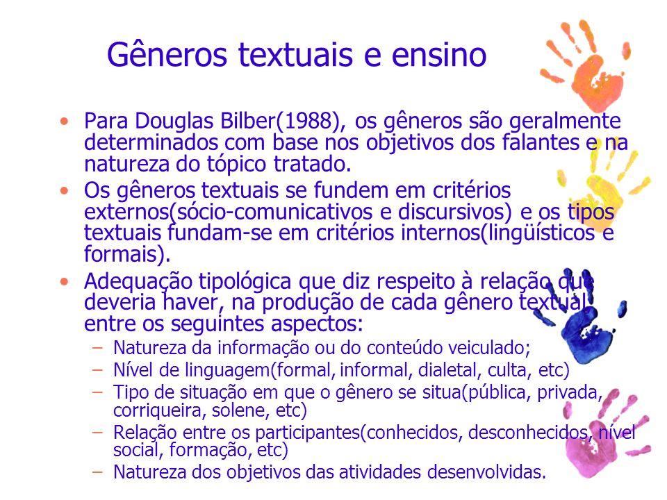 Gêneros textuais e ensino
