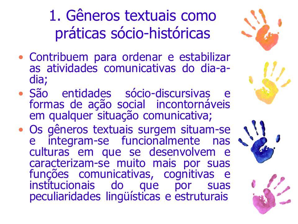 1. Gêneros textuais como práticas sócio-históricas