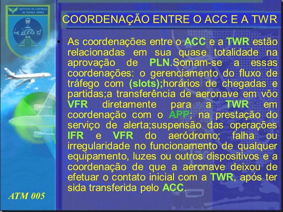 COORDENAÇÃO ENTRE O ACC E A TWR
