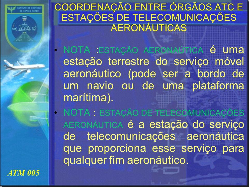 COORDENAÇÃO ENTRE ÓRGÃOS ATC E ESTAÇÕES DE TELECOMUNICAÇÕES AERONÁUTICAS