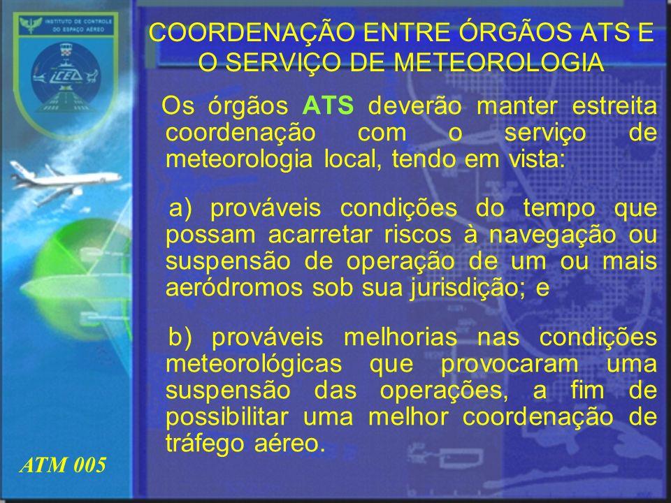COORDENAÇÃO ENTRE ÓRGÃOS ATS E O SERVIÇO DE METEOROLOGIA