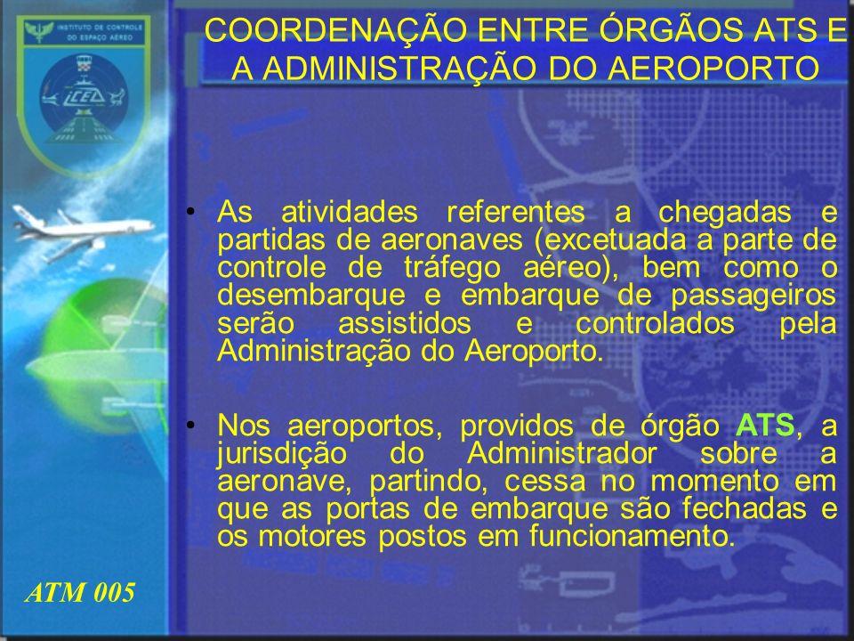 COORDENAÇÃO ENTRE ÓRGÃOS ATS E A ADMINISTRAÇÃO DO AEROPORTO