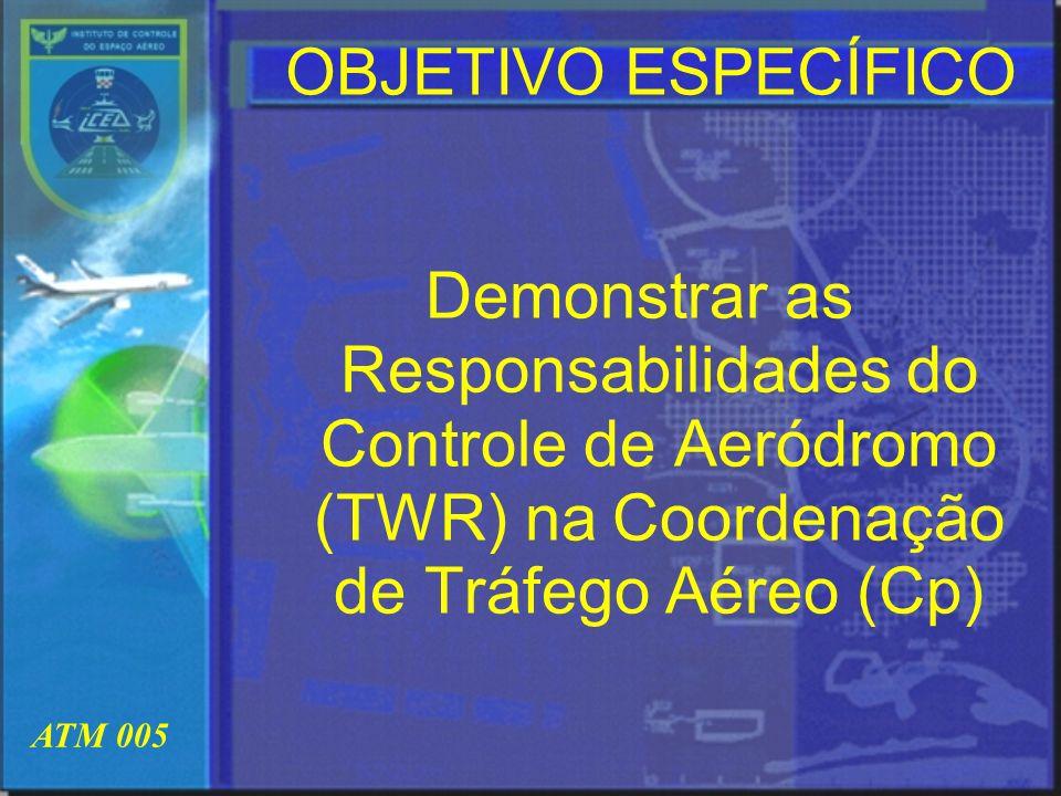 OBJETIVO ESPECÍFICO Demonstrar as Responsabilidades do Controle de Aeródromo (TWR) na Coordenação de Tráfego Aéreo (Cp)