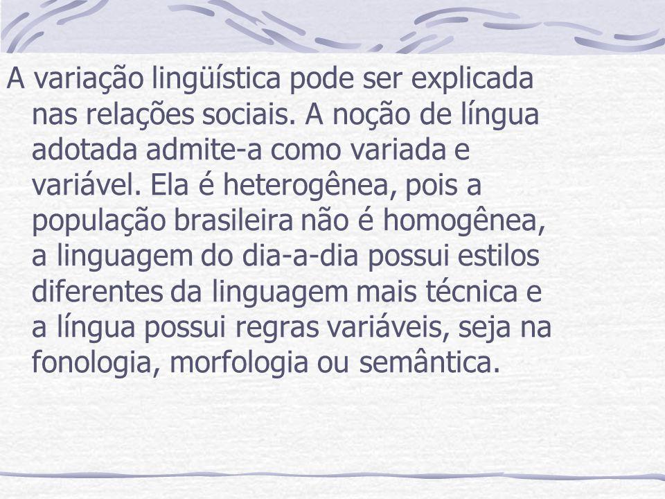 A variação lingüística pode ser explicada nas relações sociais