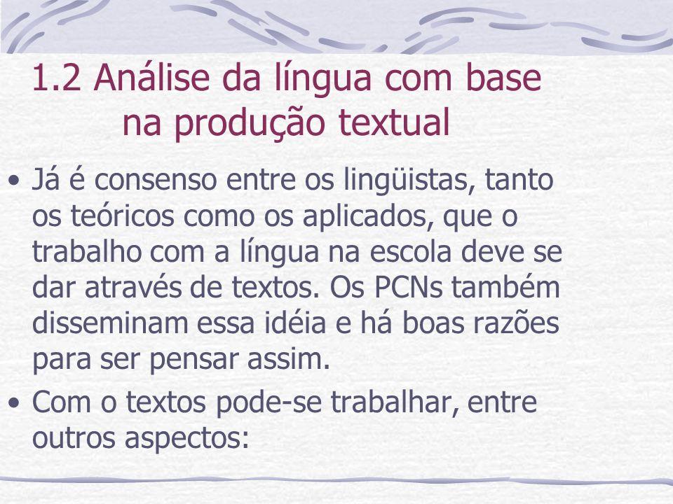 1.2 Análise da língua com base na produção textual