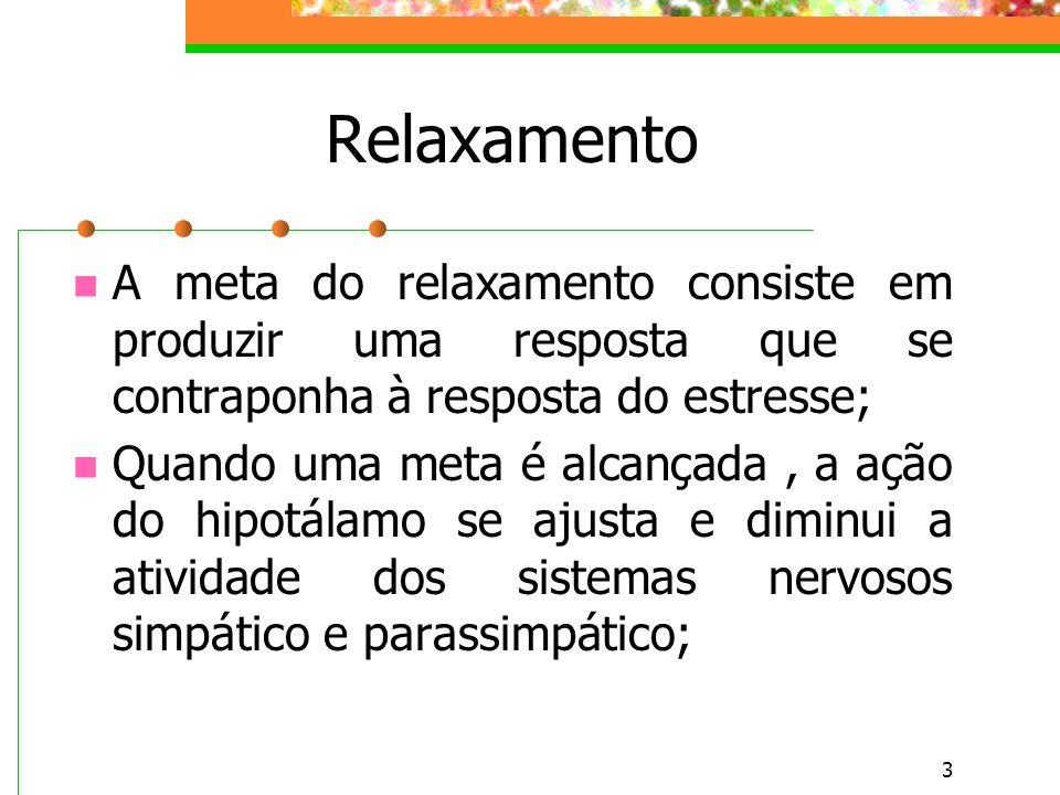 Relaxamento A meta do relaxamento consiste em produzir uma resposta que se contraponha à resposta do estresse;