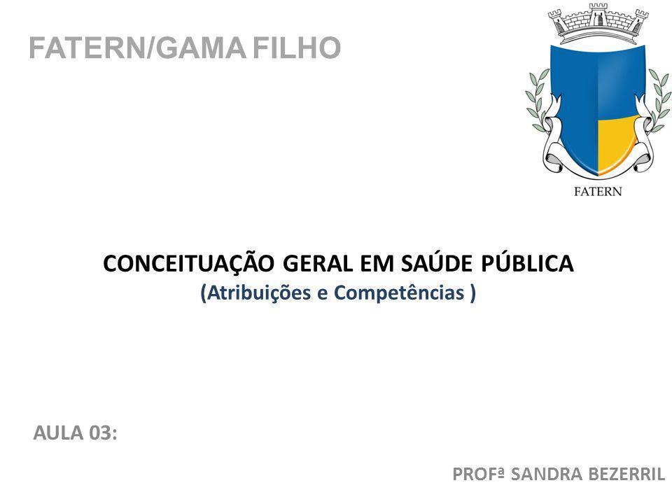 CONCEITUAÇÃO GERAL EM SAÚDE PÚBLICA (Atribuições e Competências )