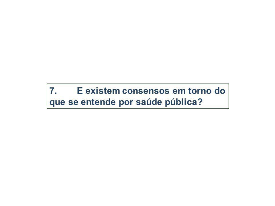 7. E existem consensos em torno do que se entende por saúde pública