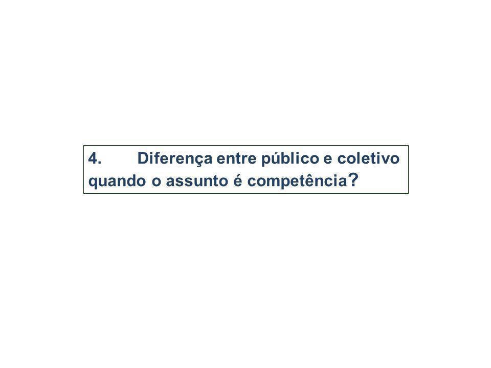 4. Diferença entre público e coletivo quando o assunto é competência